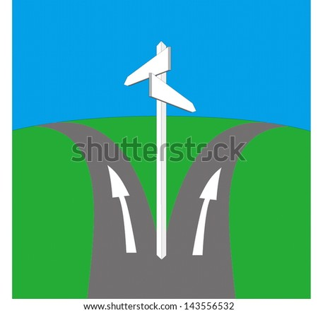 Blank signpost and crossroad - stock vector