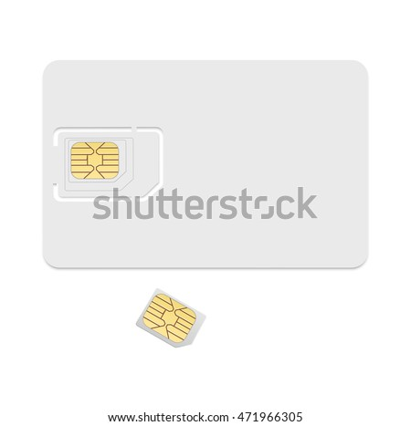 Blank Sim Card Template Realistic Vector Stock Vector 471966305