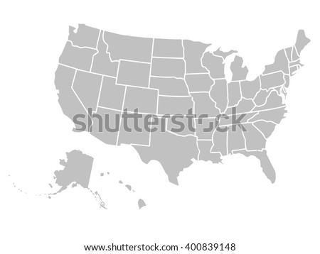 Blank Similar Usa Map Isolated On Stock Vector - Us map outline vector