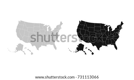 Set Vector Maps Vector Map United Stock Vector - Blank us map vector