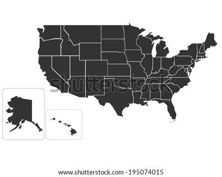 Blank Simplified Map Usa Stock Vector 195074015 Shutterstock