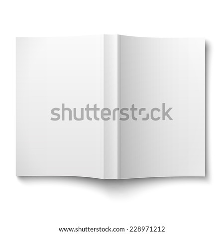 Blank softcover book template spread out on white background Vector illustration.