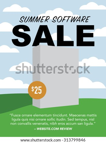 Blank software box over summer background - stock vector