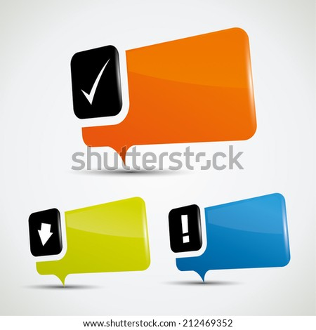 Blank special offer bubbles in vibrant color variations and reflection - stock vector