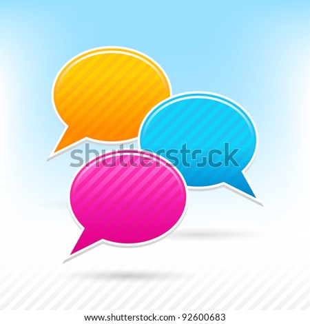 Blank speech bubbles sticker. Yellow, blue and pink colors. Striped shape with shadow on the light background. This vector illustration saved in 10 eps - stock vector