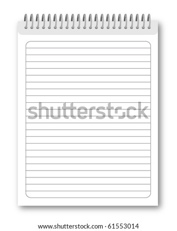 Blank spiral notebook isolated on white background. Vector eps10 illustration - stock vector