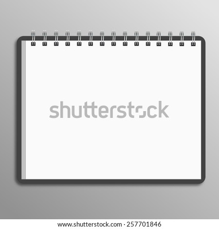 Blank spiral notebook on white background with soft shadows.  - stock vector