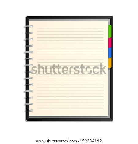 Blank spiral notepad notebook on white background - Vector illustration - stock vector