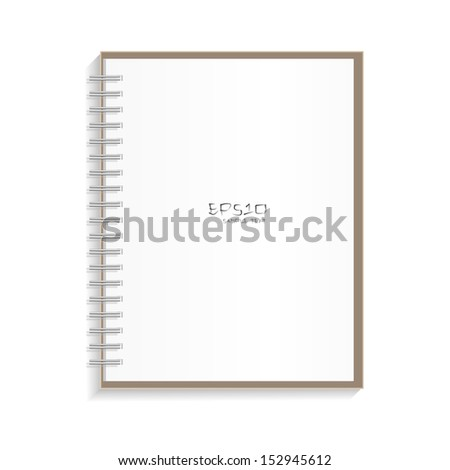 Blank spiral notepad notebook on white background - Vector illustration