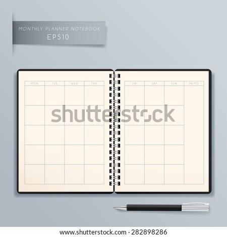 Blank Spiral Planner Template : Vector Illustration - stock vector