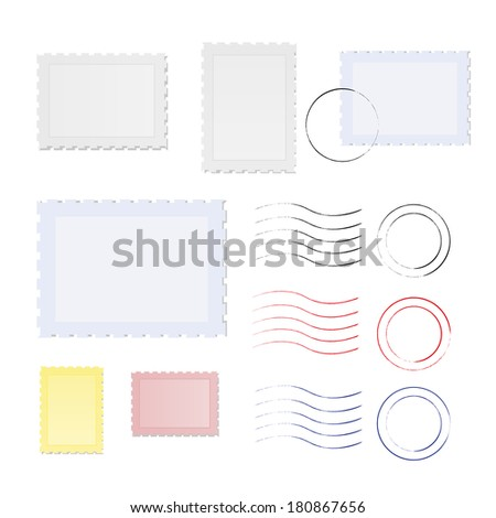 Blank stamp borders, vector illustration - stock vector