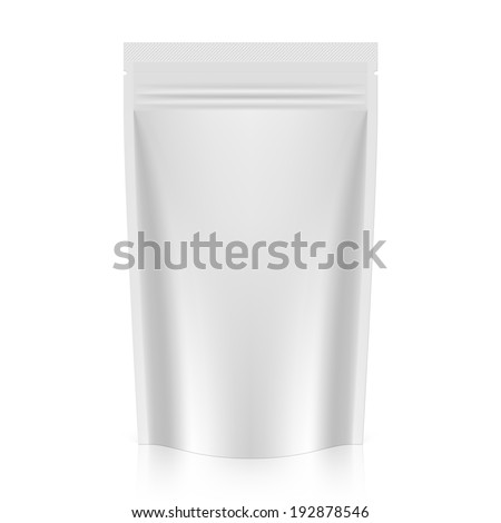 Blank stand up pouch foil or plastic packaging with zipper. Vector. - stock vector