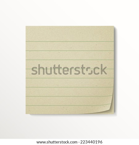blank stick note paper isolated on white background - stock vector