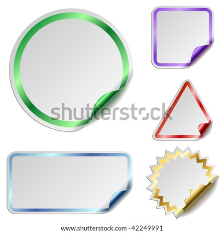 Blank stickers with color glossy back isolated on white background. - stock vector