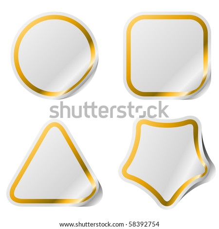 Blank stickers with golden frame . - stock vector