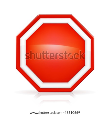 Blank Stop Sign, mesh - stock vector