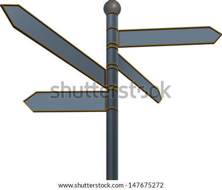 Blank street sign with different directions on white background. Vector illustration