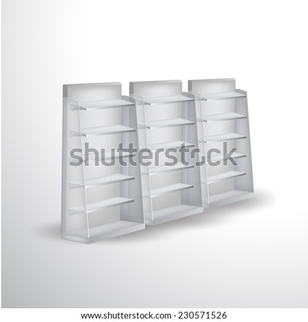 Blank supermarket shelf display vector - stock vector