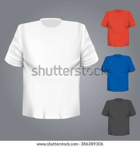 Blank t-shirt any color over grey background - stock vector