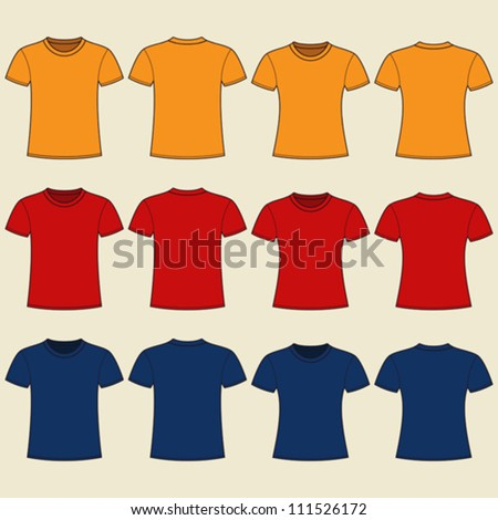 Blank t-shirts template. Front and back - stock vector