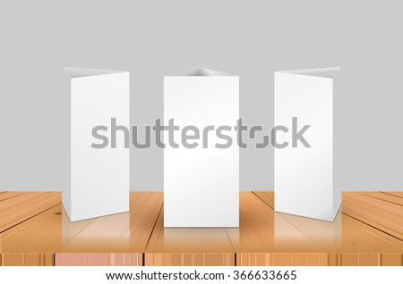 blank table tent isolated on wooden stock vector royalty free