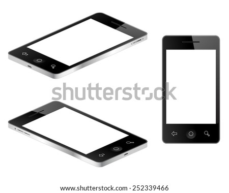 Blank tablet mobile phone in three views vector illustration  - stock vector