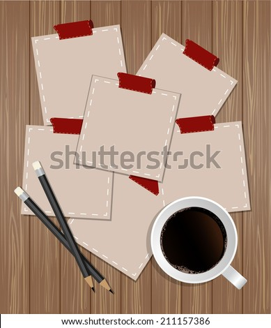 Blank tags with cup of coffee and pencils on wood background  - stock vector
