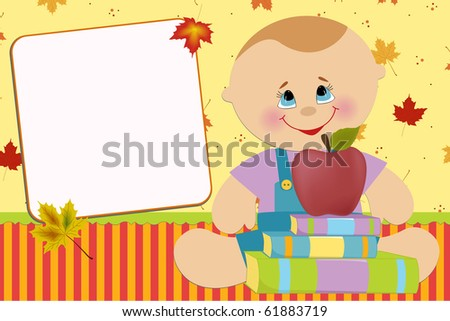 Blank template for baby's greetings card or photo frame (EPS10) - stock vector