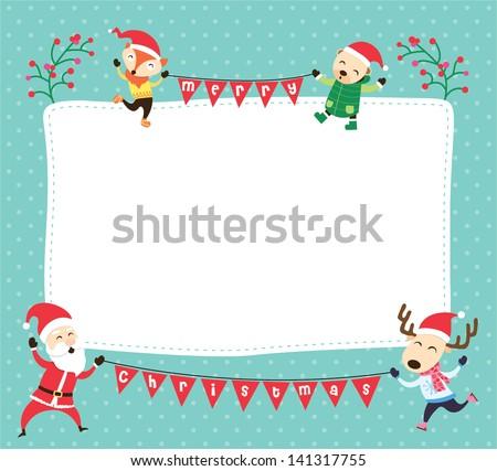 Blank Template Christmas Greetings Card Postcard Stock Vector ...
