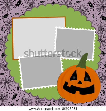 Blank template for Halloween photo frame, greetings card or postcard - stock vector
