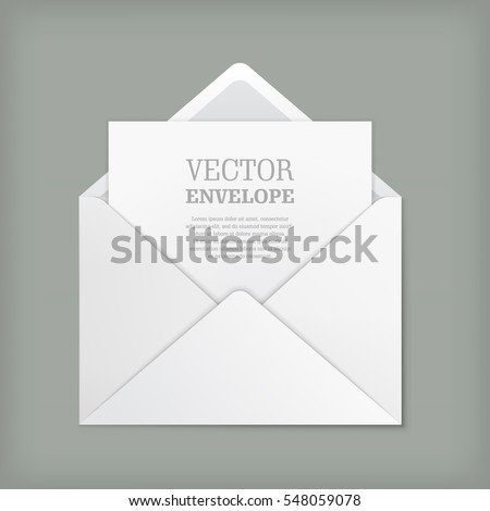 Blank Template Open White Envelope Empty Stock Vector 548059078