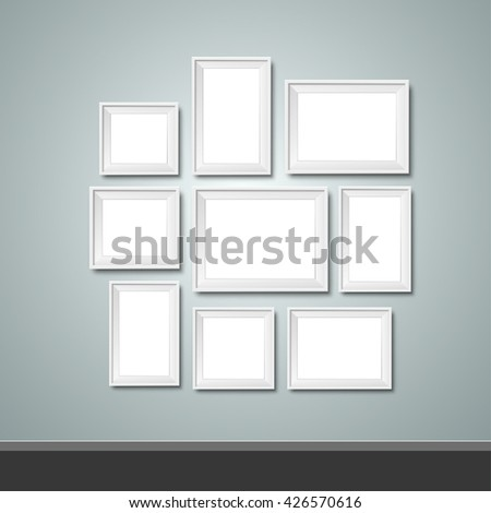 Blank template photo frames on the wall, isolated. In black and white. eps10 vector.