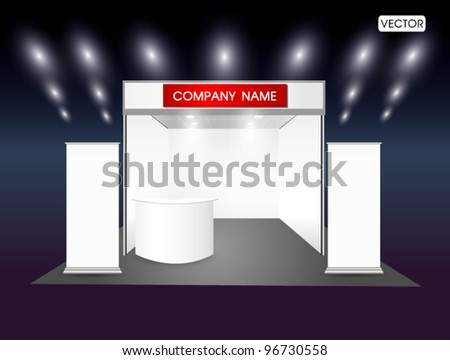 Blank trade exhibition stand and roll up banner - stock vector