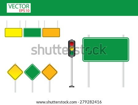 Blank traffic sign set - stock vector