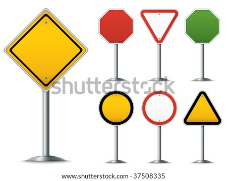 Blank traffic sign set. Easy to edit vector image. - stock vector