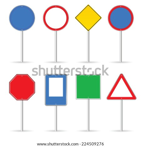 blank traffic sign set one vector illustration - stock vector