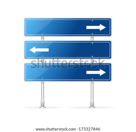 Blank traffic sign with white arrow - stock vector