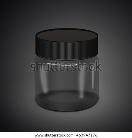 blank translucent canister isolated on black background. 3D illustration.