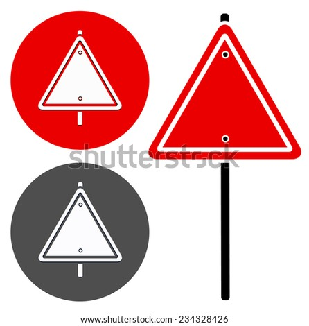 Blank trianglular road sign (stylized version) - stock vector