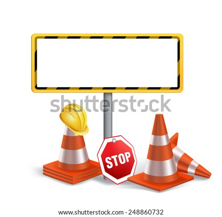 Blank Under Construction Sign in White Background. 3D Mesh Vector illustration - stock vector