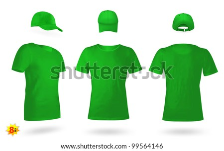 Blank uniform template set: t-shirts and a cap. - stock vector