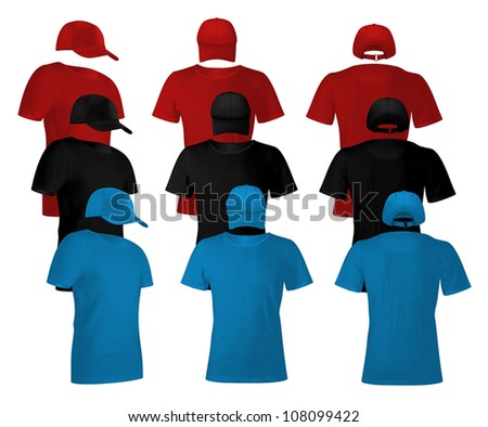 Blank uniform template set: t-shirts and hats. - stock vector