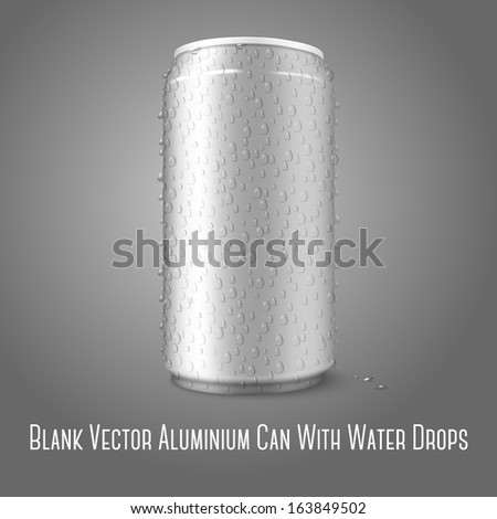 Blank vector aluminium can with condensated water drops on it, for different designs of beer, lager, alcohol, soft drinks, soda,  lemonade, cola, energy drink, juice, water etc.  - stock vector