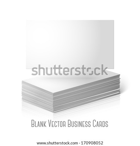 Blank vector business cards template isolated on white background with reflection. Pile of cards and one flat, for your design, branding etc. - stock vector