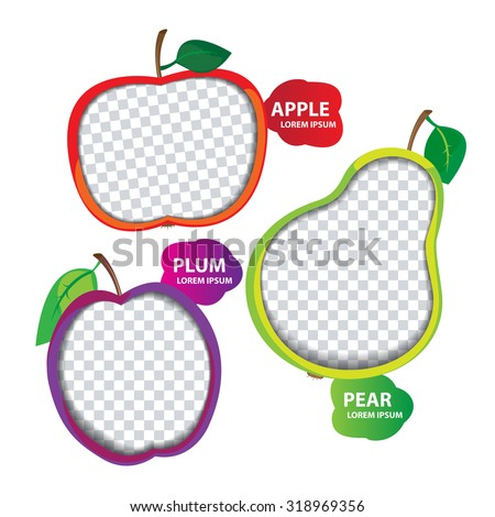 Blank vector fruity baby photo frame: apple, plum, pear - stock vector