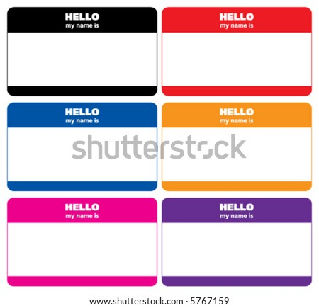 Blank vector name tags that say my name is