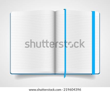 Blank vector notebook with blue cover and bookmark - stock vector