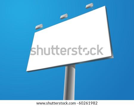 blank vector outdoor billboard on blue background