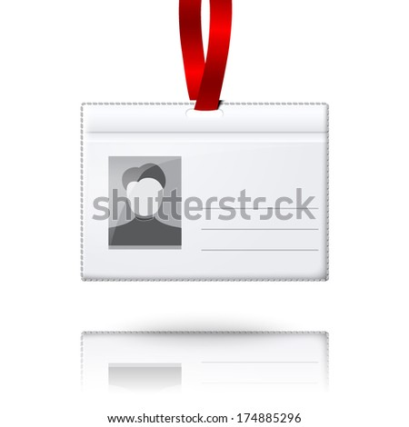 Blank vector vertical badge holder with place for photo and text. With bright light lace. Isolated on grey background for design and branding. Vector - stock vector