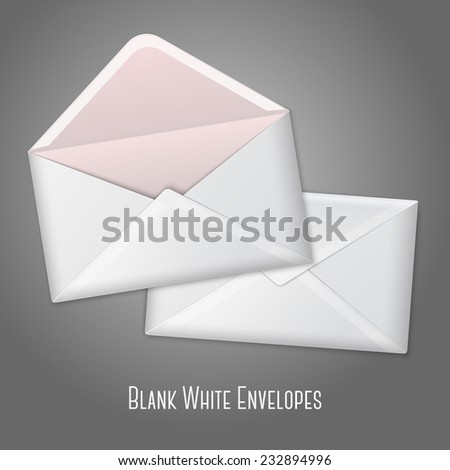 Blank vector white realistic envelopes opened and close. Isolated on grey background with place for design and branding.